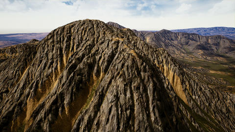 Aerial View of an Eroded Mountain Peak 3D Animation Animation
