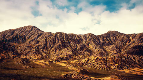Eroded Chain Mountain Range Semi Desert Aerial 3D Animation Animation