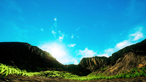4K Wide Angle Arid Scattered Mountains Timelapse 3D Animation Animation
