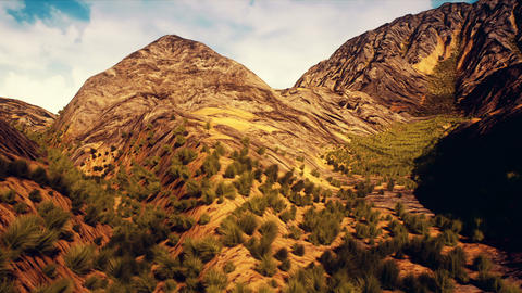 Dry Rocky Scattered Mountains and Shurblands Camera Crane Moves Up 3D Animati Animation
