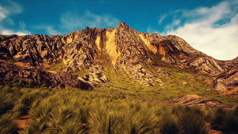 Highland Grassfield and Mountain Peak 3D Animation Animation