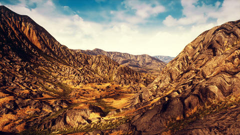Semi Desert Eroded Mountains Aerial 3D Animation Animation