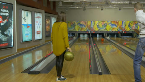 The Girl Playing Bowling Footage