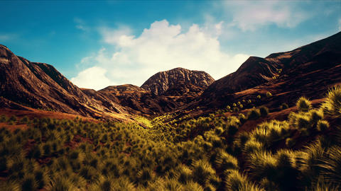 Semi Desert Rocky Mountains Arid Landscape Camera Push In 3D Animation Animation
