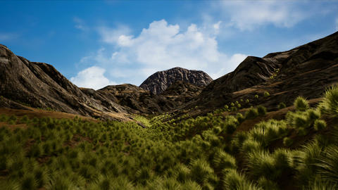 Semi Desert Scattered Mountains Arid Landscape 3D Animation Animation