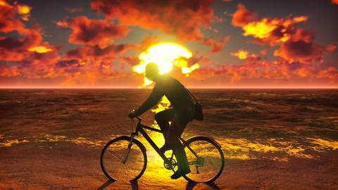 Silhouette of man with bicycle on the seashore. Man on a bicycle on the beach Animation