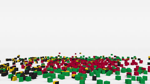 Flag of Vanuatu created from 3d cubes in slow motion Animation
