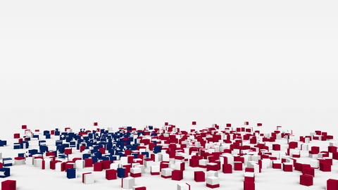 Flag of United States Of America created from 3d cubes in slow motion Animation