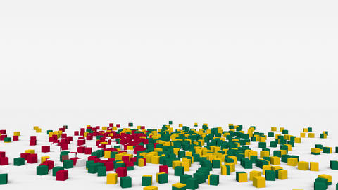 Flag of Togo created from 3d cubes in slow motion Animation
