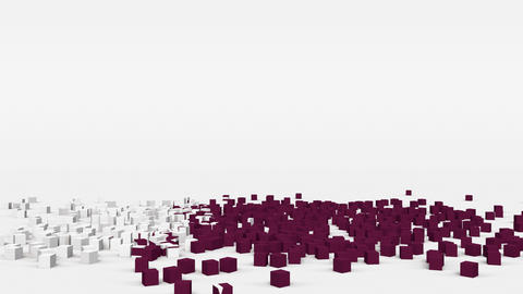 Flag of Qatar created from 3d cubes in slow motion Animation