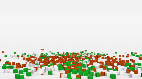 Flag of Niger created from 3d cubes in slow motion Animation