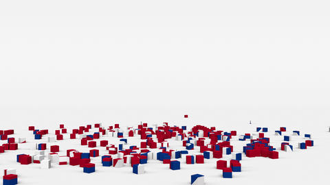Flag of Nepal created from 3d cubes in slow motion Animation