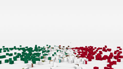 Flag of Mexico created from 3d cubes in slow motion Animation