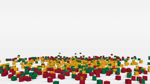 Flag of Lithuania created from 3d cubes in slow motion Animation
