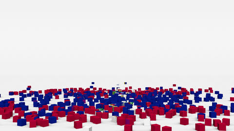 Flag of Haiti created from 3d cubes in slow motion Animation
