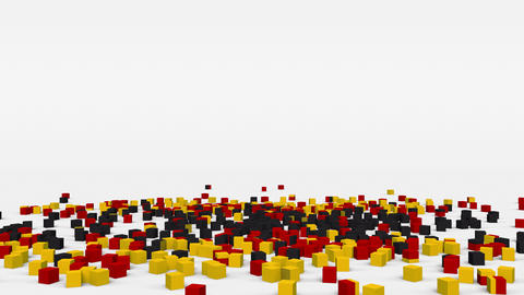 Flag of Germany created from 3d cubes in slow motion Animation
