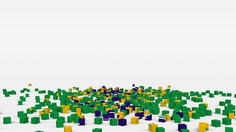 Flag of Brazil created from 3d cubes in slow motion Animation
