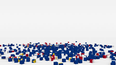 Flag of Cape Verde created from 3d cubes in slow motion Animation