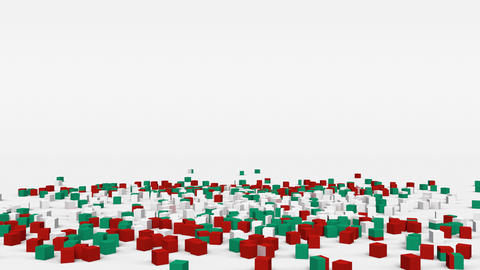 Flag of Bulgaria created from 3d cubes in slow motion Animation