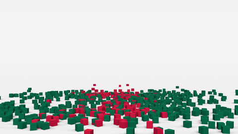 Flag of Bangladesh created from 3d cubes in slow motion Animation