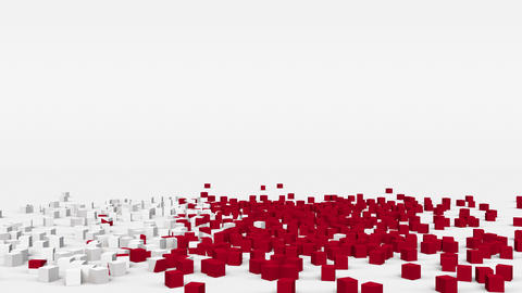 Flag of Bahrain created from 3d cubes in slow motion Animation