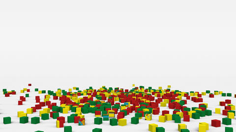 Flag of Bolivia created from 3d cubes in slow motion Animation