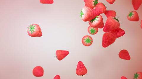 苺 パーティクル たくさん CG動画素材