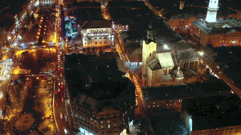 Hyperlapse of night city traffic in the historical center of Lviv, UNESCO's Footage
