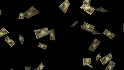 Bank notes Money 10,000 yen Japanese yen fall Fall crash CG business finance GIF