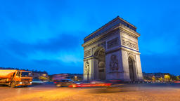 Paris France time lapse 4K, city skyline night to day timelapse at Arc de Footage