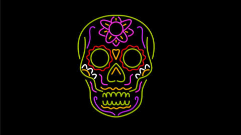 Sugar Skull Neon Sign 2D Animation Animation
