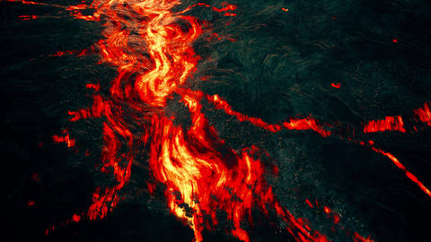 4K Aerial View of Lava Flow on Volcanic Terrain Cinematic... Stock Video Footage