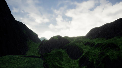4K Aerial View of Misty Highlands 3D Animation Animation