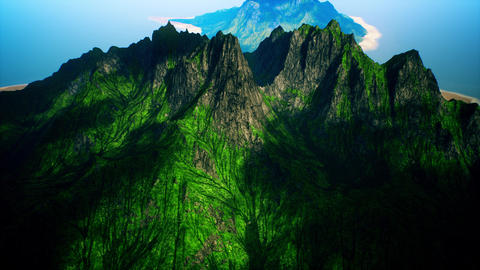 4K Aerial View of Volcanic Mountain Island Cinematic 3D Animation Animation