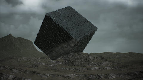 4K Alien Cube on Surrealistic Planet Hyper Lapse 3D Animation Animation