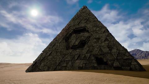 4K Alien Pyramid in Desert Fantasy 3D Animation Animation