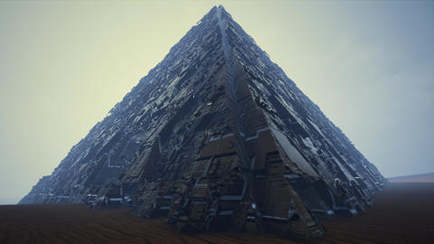 4K Extraterrestrial Pyramid in Desert Sci-Fi 3D Animation Animation