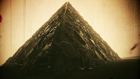 4K Extraterrestrial Sci-Fi Pyramid in Desert Vintage 3D Animation Animation