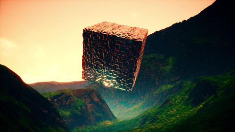 4K Fantasy Cube in Valley Cinematic Sci-Fi 3D Animation Animation