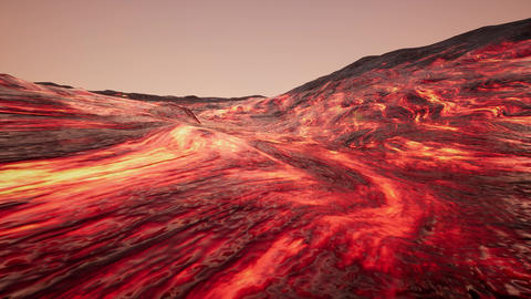 4K Intense Lava Flow Cinematic 3D Animation Animation