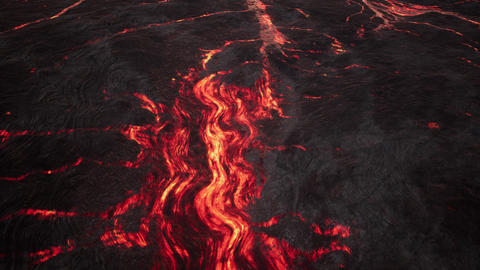 4K Lava Flow on Volcanic Terrain Cinematic Aerial 3D Animation Animation