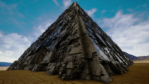 4K Mysterious Enigmatic Metallic Pyramid Fantasy 3D Animation Animation