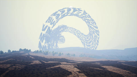 4K Mysterious Enigmatic Shape on a Foggy Plain Sci-Fi 3D Animation Animation