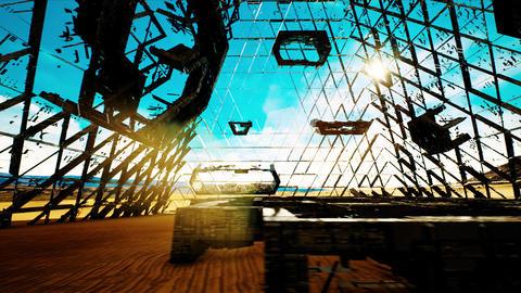 4K Mysterious Extraterrestrial Construction in Desert Sci-Fi Scene 3D Animati Animation