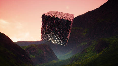 4K Mysterious Fantasy Cube Cinematic Sci-Fi 3D Animation Animation