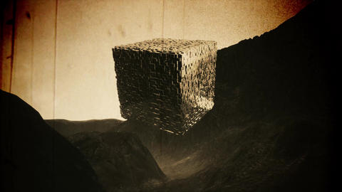 4K Mysterious Fantasy Cube Cinematic Sci-Fi Vintage 3D Animation Animation