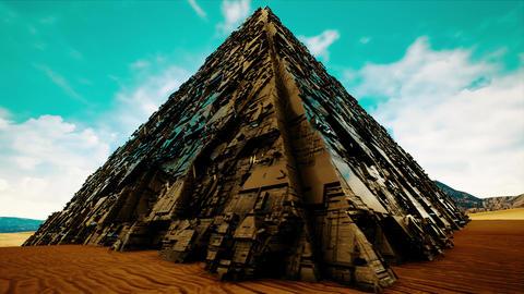4K Mysterious Steel Pyramid Fantasy 3D Animation Animation