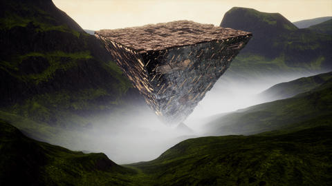 4K Reflective Sci-Fi Upside Down Pyramid in Foggy Valley Cinematic 3D Animation