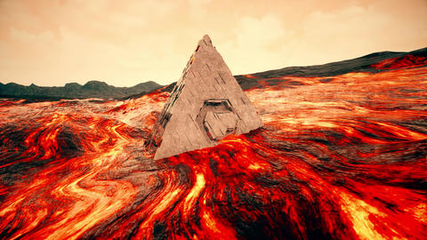 4K Sci-Fi Pyramid in Massive Lava Flow Cinematic 3D Animation Animation