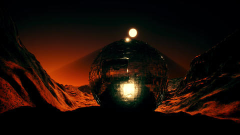 4K Sci-Fi Alien Globe on Red Planet Cinematic 3D Animation Animation
